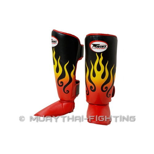 Twins-Muay-Thai-Kick-Boxing-K1-Shin-Protection-Guard-Protector-Fire-Flame-Black