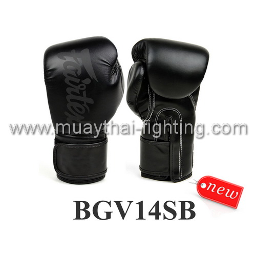 Fairtex Boxing Gloves Micro Fiber Black on Black BGV14SB