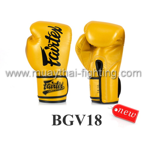 Fairtex Boxing Gloves Gold Micro Fiber BGV18