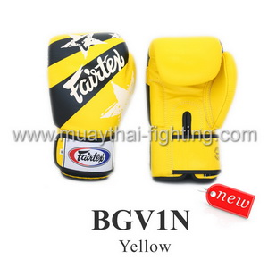 Fairtex Muay Thai Boxing Gloves With Nation Print - BGV1N Yellow