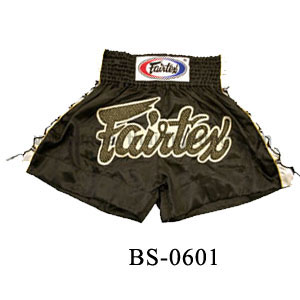Fairtex Black Satin Shorts With Mash and Laces BS0601