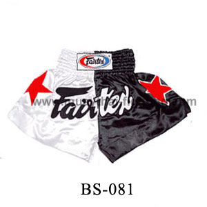 Fairtex Short Black White with Red Stars BS081