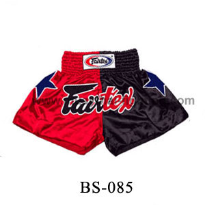 Fairtex Short Red Black with Blue Stars BS085