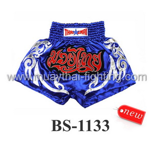 ThaiSmai Muay Thai Shorts Blue White BS-1133