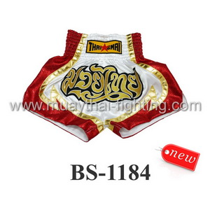 ThaiSmai Muay Thai Shorts White Red BS-1184