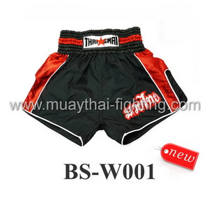 ThaiSmai Muay Thai Retro Shorts Black Red BS-W001