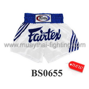 Fairtex Shorts  White with Blue Stripe BS0655
