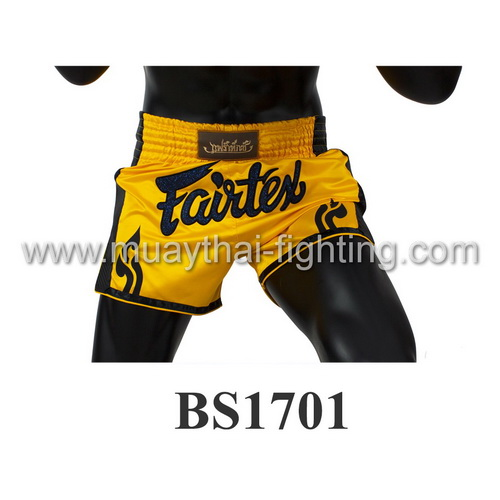 Fairtex Slim Cut Muay Thai Shorts Yellow/Black BS1701