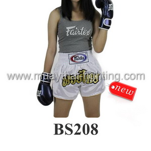 Fairtex Muay Thai Shorts Women Cut White BS208