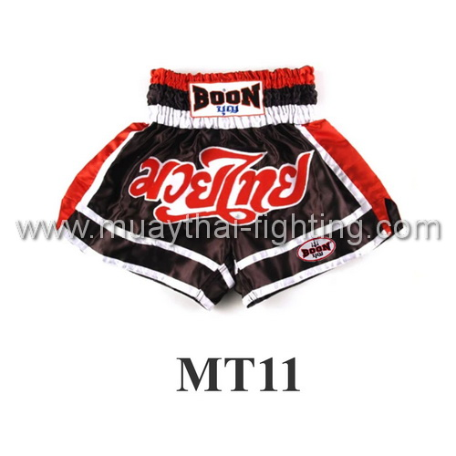 Boon muay Thai Red Black White Shorts MT11