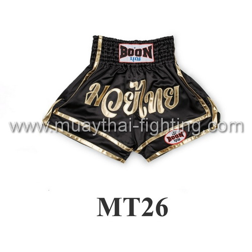 Boon Muay Thai Black & Gold Shorts MT26