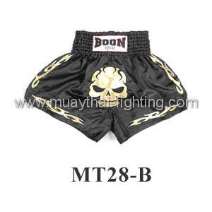 Boon Muay Thai Black Skull Shorts MT28-B