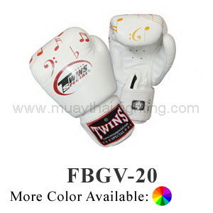 Twins Special Fancy Boxing Gloves Musical Notes Pattern FBGV-20