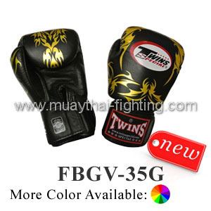 Twins Special Gold Leaf Boxing Gloves- Premium Leather FBGV-35G