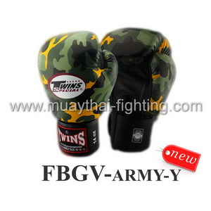 Twins Special Fancy Boxing Gloves Army Yellow FBGV-ARMY-Y