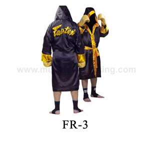 Fairtex Hooded Fighter Robe Gold-Trim FR3