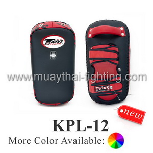 Twins Special Deluxe Curved Leather Kick Pads KPL-12