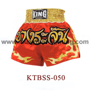 Top King Bangrajun Red Muay Thai Shorts KTBSS-050