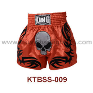 Top King Red Alien Satin Muay Thai Shorts KTBSS-009