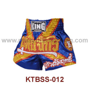 Top King Blue Yutajack Satin Muay Thai Shorts KTBSS-012