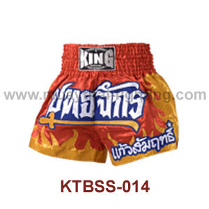 Top King Red Yutajack Satin Muay Thai Shorts KTBSS-014