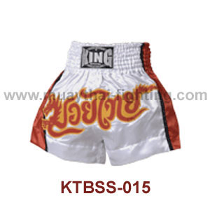 Top King White Red Dragon Satin Muay Thai Shorts KTBSS-015