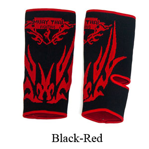 MuayThai-Fighting Dragon Tattoo Ankle Guard Black/Red