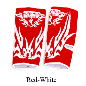 MuayThai-Fighting Dragon Tattoo Ankle Guard Red/White