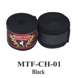 Muaythai Fighting Handwraps Elastic Cotton MTF-CH-1 Black