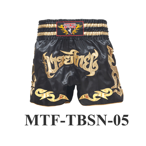 MuayThai-Fighting Black Muay Thai Boxing Shorts MTF-TBSN-05