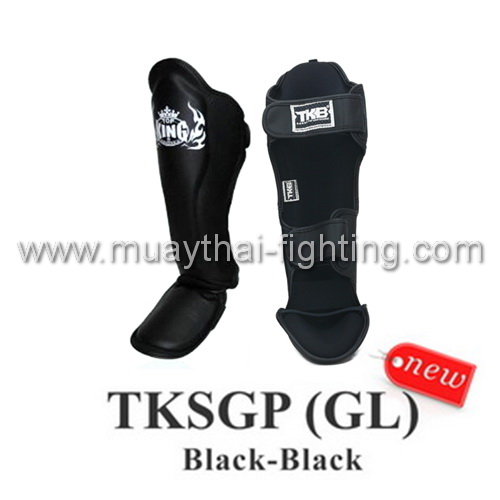 Top King Muay Thai Shin Pads TKSGP GL Shin Guards Pro Genuine Leather White Blac