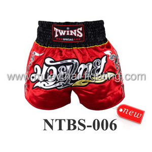 Twins Special Muay Thai Shorts Red Silver NTBS-006