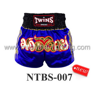 Twins Special Muay Thai Shorts Blue Gold NTBS-007