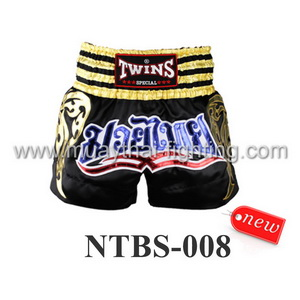 Twins Special Muay Thai Shorts Black Blue NTBS-008