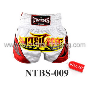 Twins Special Muay Thai Shorts White Red NTBS-009