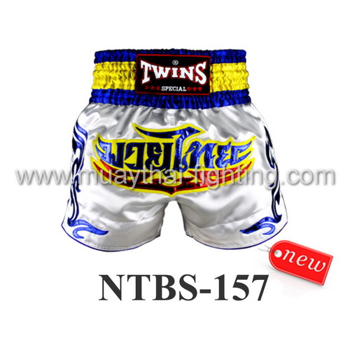 Twins Special Muay Thai Shorts White Blue NTBS-157