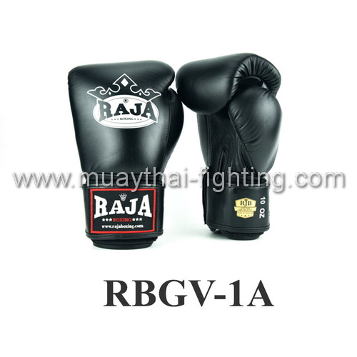 Raja Boxing Gloves Velcro Wrap Strap Full Leather RBGV-1A Black