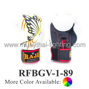 Raja Fancy Boxing Gloves Butterfly Design RFBGV-1 #89 White