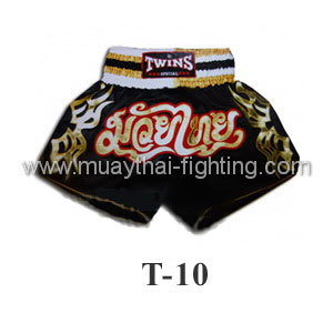 Twins Special Muay Thai Shorts Black with Gold T-10
