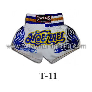 Twins Special Muay Thai Shorts White with Blue T-11
