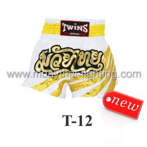 Twins Special Muay Thai Shorts White with Yellow Stripe T-12