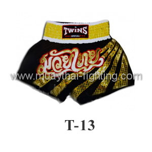 Twins Special Muay Thai Shorts Black with Gold Stripe T-13