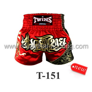 Twins Special Muay Thai Shorts Red Gold T-151