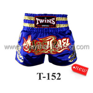 Twins Special Muay Thai Shorts Blue Gold T-152