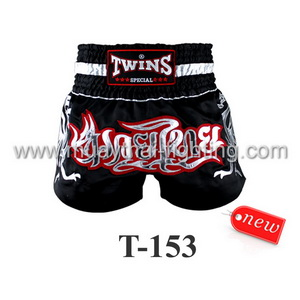 Twins Special Muay Thai Shorts Black Silver T-153
