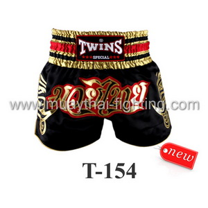 Twins Special Muay Thai Shorts Black Gold Red T-154