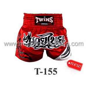 Twins Special Muay Thai Shorts Red Black White T-155
