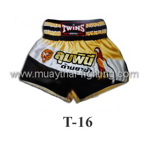 Twins Special Muay Thai Shorts Yellow Black Lumpini T-16