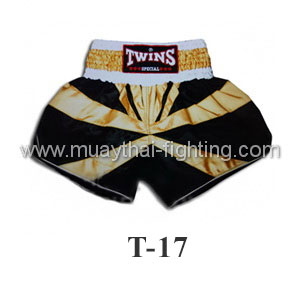 Twins Special Muay Thai Shorts Black with Gold Ribbon T-17