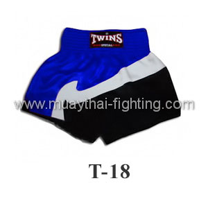 Twins Special Muay Thai Shorts Trio Blue White Black T-18